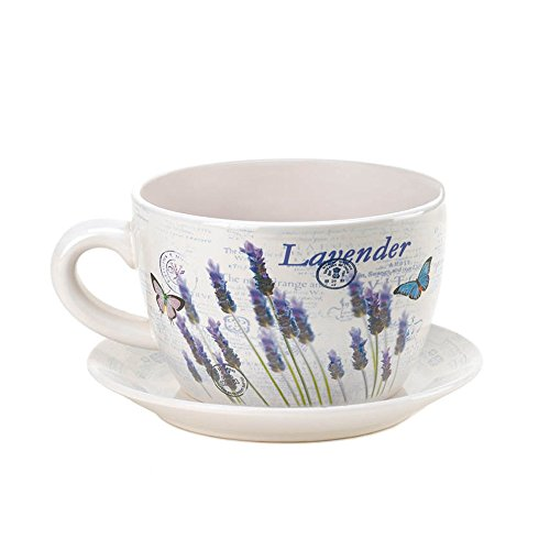 Summerfield Terrace 10016209 Garden, Large Decorative Outdoor Ceramic Lavender Fields Teacup ()