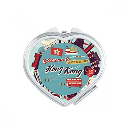 Hong Kong Circle Famous Places Heart Compact Makeup Pocket Mirror Portable Cute Small Hand Mirrors Gift