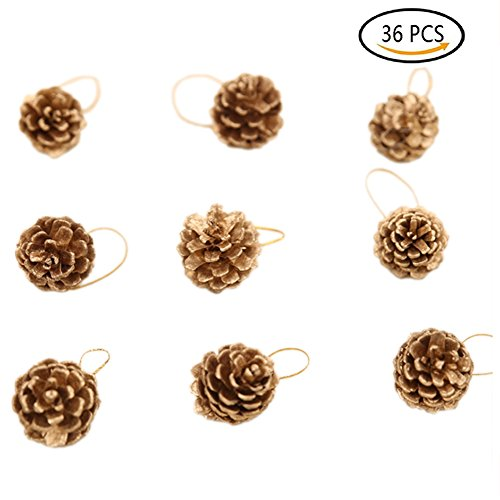 36 PCS Christmas Pine Cones, Messar Christmas Pine Nuts Ornaments Pendant with Cord for Hanging Xmas Tree Party Decorations Craft (Spice Berry Garland)