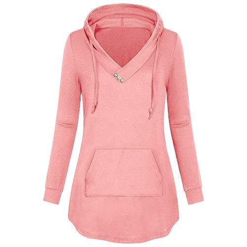 (URIBAKE Women Hooded Blouse Button V- Neck Kangaroo Pocket Lightweight Tunic Pullover Hoodie)