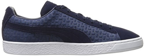 Mens Suede Classic Emboss V2 Fashion Sneaker, Peacoat, 9.5 M US