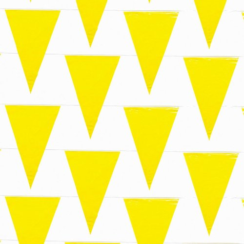 Fun Express - Pennant Banner,Plastic, (100 Foot) (Yellow) (48 Pennants Per String)