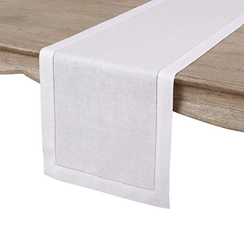 Solino Home Hemstitch Linen Table Runner - 14 x 120 Inch, Handcrafted from European Flax, Machine Washable Classic Hemstitch - White (Runner Table Turkey)