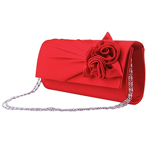 Satin Women Floral Hot Wedding Wiwsi Evening New Ivory Clutch Red Party Handbag Bag Design 5Ww4qWHx61