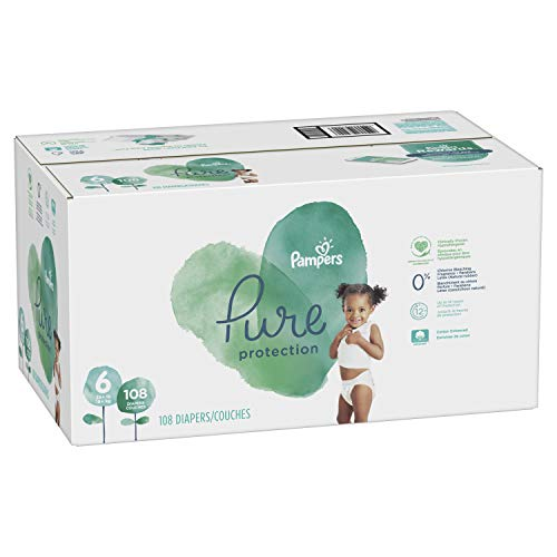 Size 6, 108 Count - Pampers Pure Disposable Baby Diapers, Hypoallergenic and Fragrance Free Protection, ONE Month Supply