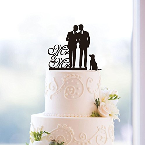 Same Sex Gay Mr & Mr Dog Wedding Anniverary Cake Topper (...