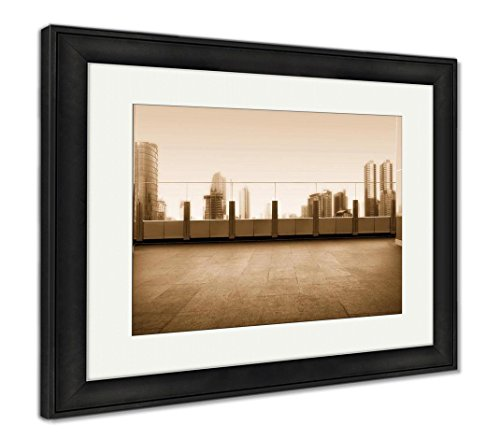Rooftop Framed (Ashley Framed Prints Roof Top Balcony In The Building With Cityscape, Wall Art Home Decoration, Sepia, 34x40 (frame size), Black Frame, AG5972014)