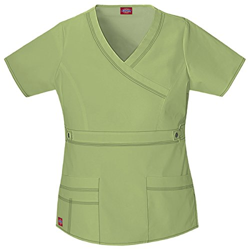 Dickies Scrubs Women's Gen Flex Junior Fit Contrast Stitch Mock Wrap Shirt, Desert Sage, X-Large