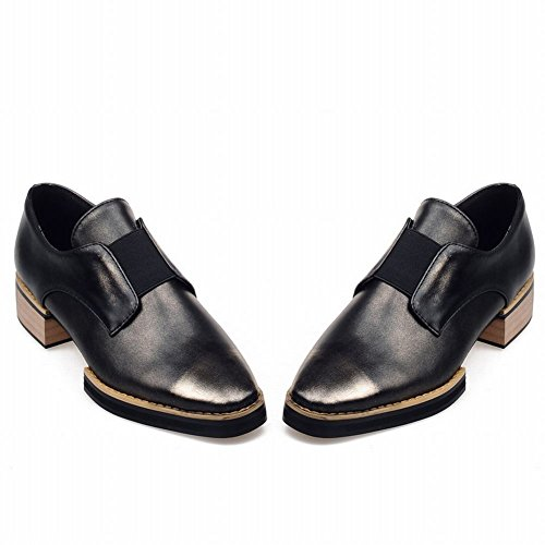 Latasa Womens Fashion Pointed-toe Low Chunky Heel Slip on Loafers Shoes gold+black ycbF9K