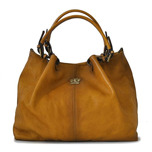 Hobo Leather Shoulder Handbag Bucket Bag Tan Italian Pratesi Aged pSAqw1I