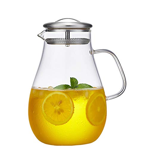 Glass Jug, 2L Transparent Glass Pitcher Water Jug, Borosilicate Glass Carafe and Stainless Steel Lid, for Hot/Cold Juice, Tea, Milk and Coffee, Glass Water Jar with Filter ()