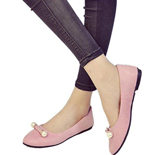 Winwintom La primavera de las mujeres Moda Casual zapatos planos cómodos zapatos de trabajo superficial Rosa