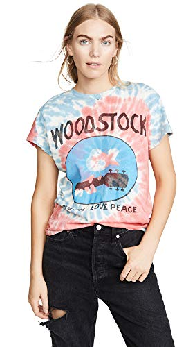 MADEWORN ROCK Women's Woodstock Tie Dye Tee, American Tie Dye, Blue, Red, Graphic, X-Small
