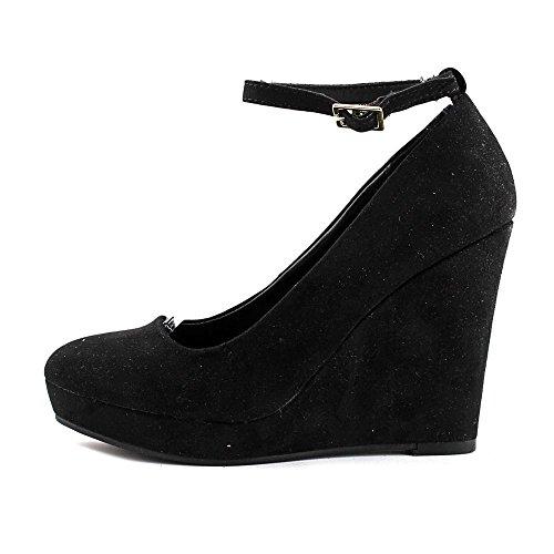 Fabric Strap Ankle Closed Girl Black Wedge Pumps Vivie Womens Material Toe txABq0B