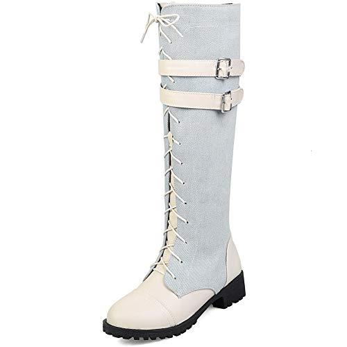 SaraIris Women's New Lace-up Zipper Double Buckle Knee High Boots Round Toe Block Heel Martin Boots Denim Boots