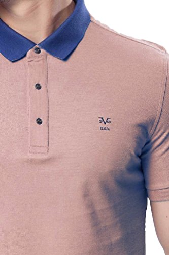 Versace V1969 - Herren Poloshirt, Blau Kragen, 100% Baumwolle, Custom Fit, Rosa, Small