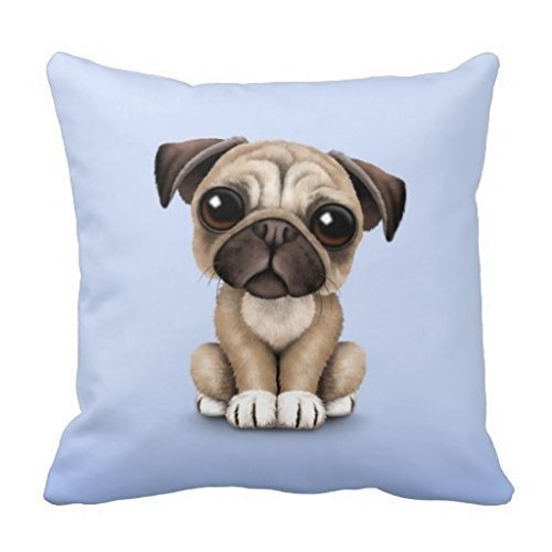 Square Decorative Throw Pillow Case Cushion Cover (Cute Baby Pug Puppy Dog on Light Blue)- 1818 Hbesa