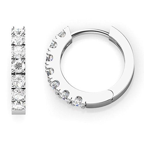 925 Sterling Silver Round CZ Cubic Zirconia Huggie Hoop Earrings