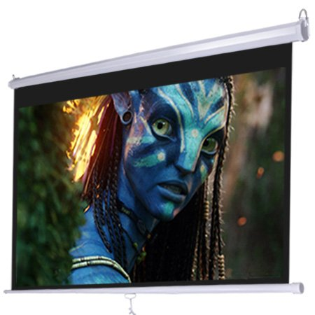 Manual Pull Down White Projection Screen Wall Ceiling Mounted 72'' Widescreen View 16:9 Ratio Steel Case for Home Movie Theater Office Video Projector Retractable