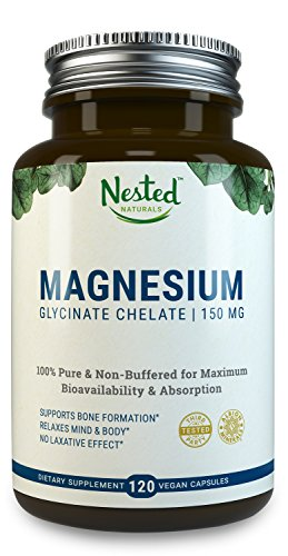 Free Magnesium Glycinate Chelate 150mg in Vegan Capsules, Better Absorbing than Tablets   100% Pure & Non-Buffered for Maximum Bioavailability & Absorption with NO Laxative Effect - Non-GMO