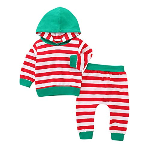 Sweatsuit Shirt Pants - GSHOOTS Baby Toddler Girl Striped Hoodie Long Sleeve Sweatshirt Baby Boys Hooded Top + Striped Pants 2Pcs Sweatsuit, Shirt, Outfit Set, Red and Green (110/2-3 Years, Striped Red)