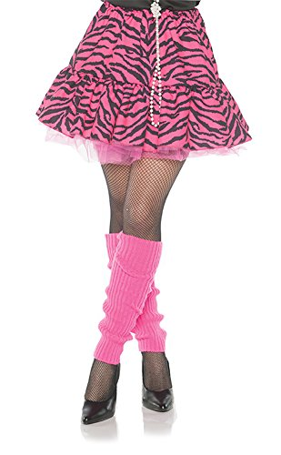 Mens Flashdance Costume (Women's 80's Retro Flashback Zebra Skirt- Pink & Black, Medium)