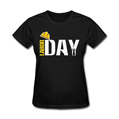 Women's Happy Labor Day Celebration Holiday Short Sleeve Print T Shirt Black