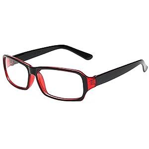 FancyG Vintage Inspired Classic Rectangle Glasses Frame Eyewear Clear Lens - Black Red