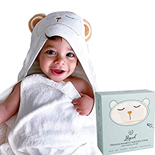Lilyseed Ultra Soft Bamboo Baby Hooded Towel and Washcloth Set - X-Large Organic Hooded Bath Towel with Bear Ears for Babies, Infants & Toddlers - Kids Hooded Towel for Boys & Girls
