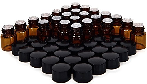 24, Amber, 1 ml (1/4 Dram) Glass Bottles, with Orifice Reducers and Black Caps (1ml Bottle)