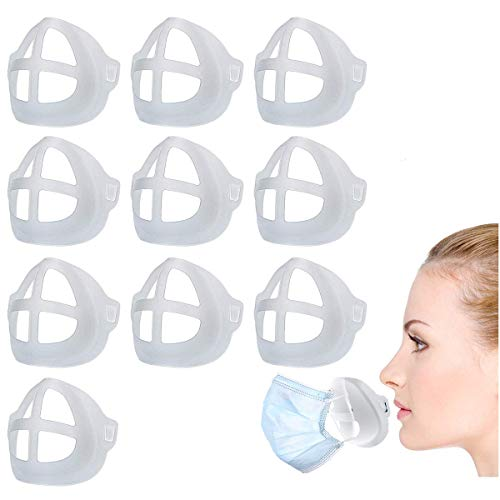 3D Mask Bracket, Silicone Mask Inner Support Frame for Lipstick Protection Reusable Washable Soft Comfortable Face Mask Cool Bracket (10pCS)