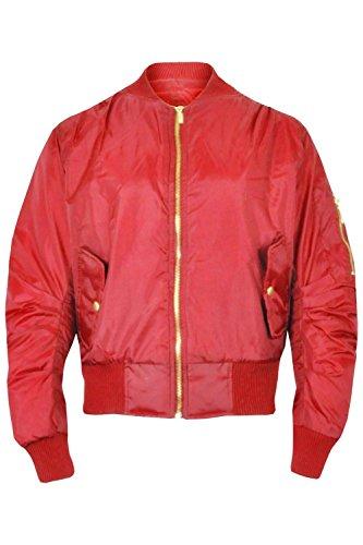 Dames 34 Militaire Ma Filles Vintage 1 Femmes Aviateur Rétro Rouge Éclair Classique Motard Style Xs Fermeture Veste xSndU44R