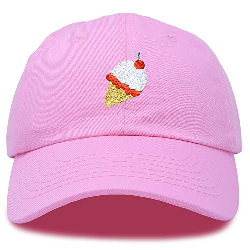 DALIX Ice Cream Dad Hat Cotton Twill Baseball Cap Embroidered Hats Light Pink (Live Simply Hat)