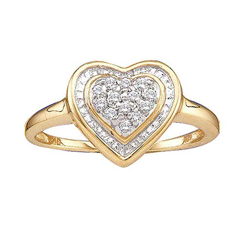 14kt Yellow Gold Womens Round Diamond Heart Frame Cluster Ring 1/10 Cttw