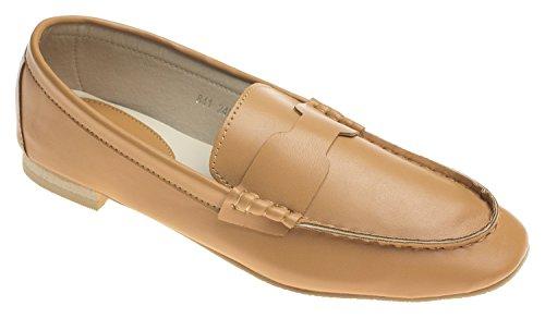 Annakastle Para Mujer De Cuero Suave Casual Penny Loafer Flat Slip En Los Zapatos De Camello