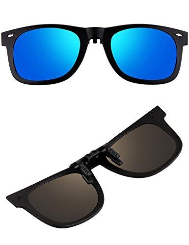 ATTCL Unisex New Unisex Reflective Wayfarer Style Flip Up Clip on Polarized Sunglasses 1HP806 - Anti Glasses Driving Reviews Glare