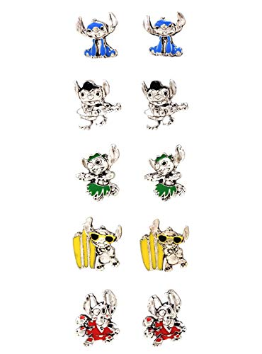 Stud Earring Set Disney Lilo & Stitch Poses 5 Pair Licensed
