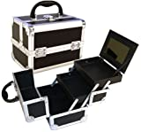 Black Aluminum Cosmetic Train Case Style No. TS-78BKV (Steel Corner), Bags Central