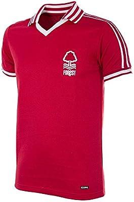 COPA - Camiseta de fútbol retro con cuello de fútbol Nottingham Forest 1976-1977 para hombre, British Football, Nottingham Forest 1976-1977 - Camiseta de fútbol retro, Hombre, color rojo, tamaño small: Amazon.es: Deportes