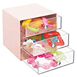 mDesign Plastic Accessory 3 Drawer Cube Box Storage Organizer Station for Baby/Kids Bedroom, Changing Table, Nursery or Playroom - Organization for Diaper Creams, Ointments, Supplies, Light Pink/Clear