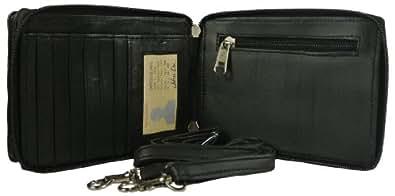 Black LEATHER Smart CELL PHONE Organizer PURSE Wallet Cross Body Bag