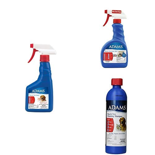 Adams Flea & Tick Control For Cats & Dogs, Pet Spray + Pet Cleansing Shampoo + Home Spray, Multi-Pet Protection Bundle