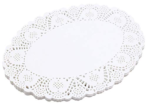 CHOPIC 100 Pcs White Oval Lace Paper Doilies for Wedding, Tea Party, Tableware Decoration (13.8 x 10.3 inch)
