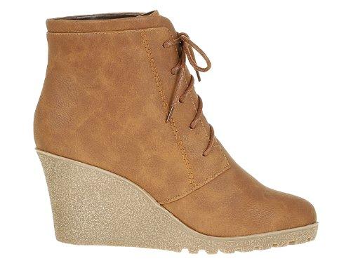 Reneeze CHERRY-2 Women High Heel Wedge Ankle Boots-CAMEL-10