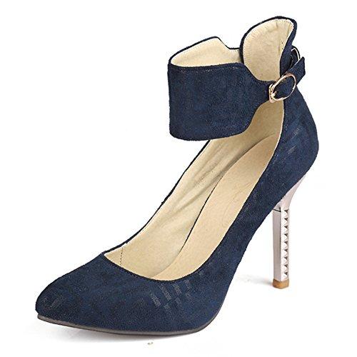 Moda Talón Bomba de las mujeres de tacón señaló Toe tobillo Correa Stiletto talón exquisito Azul
