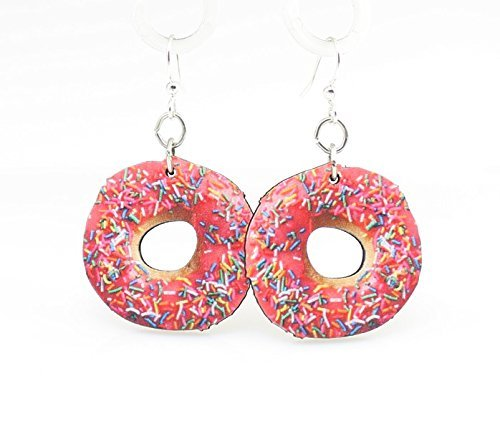 Green Tree Jewelry Pink Doughnut Printed Wooden Laser Cut Earrings #1525