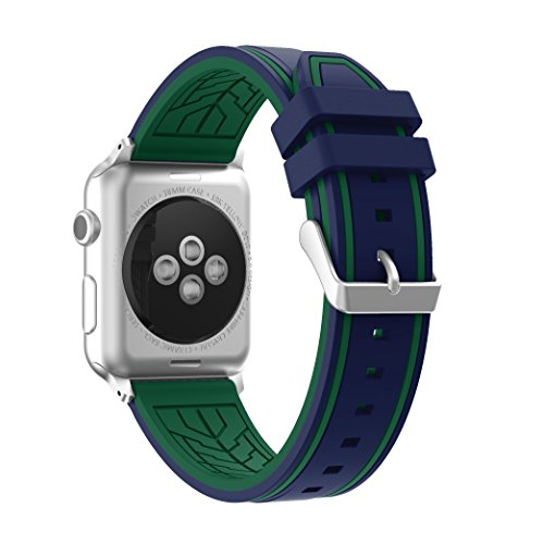 Adjustable Silicone - Compatible Apple Watch Band,Soft Silicone Wristband Strap Adjustable Replacement iWatch 38mm/42mm Bands with Five Vertical Lines for Apple Watch Sport, Series 3/2/1 Sport and Edition