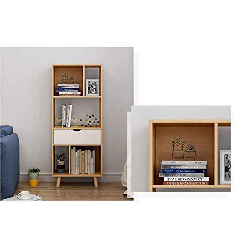 (DEED Children's Bookshelf Space Saving Bookcases Modern Floor Book Shelf,Nordic Multi-Layer Rack Storage Rack Simple Student Bedroom Home Office Living Room Furniture Combination Storage Rack,Beige)