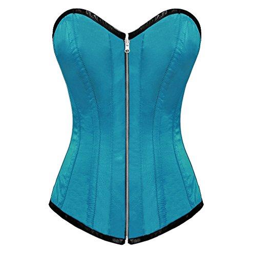 Baby Blue Satin Zip Gothic Burlesque Bustier Waist Training LONG Overbust Corset