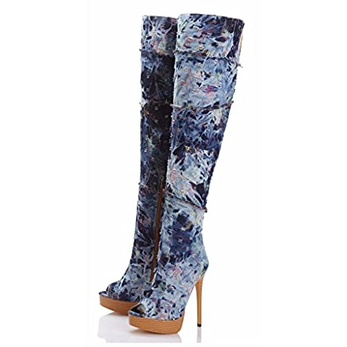 Women's Denim Thigh High Over The Knee Boots Peep Toe High Heel Boots Size 4-15 US